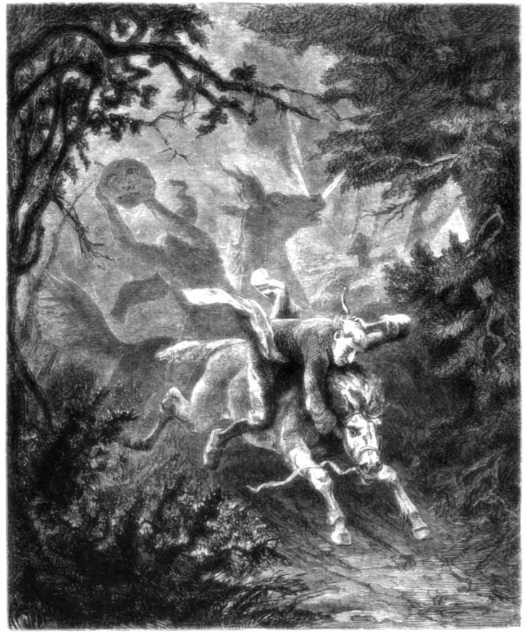 Leutze - Brom Bones and Icabod - Sketchbook 1865