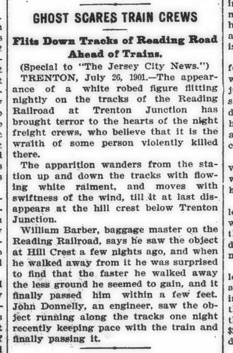 1901 Ghost Scares Train Crews
